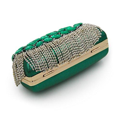 Borse Sera Signora sera Borsa frizioni infiorescenza staminifera Luxury Dinner Party colorate conchiglie sera borsa da ricamo Green-A