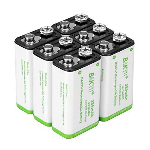 BAKTH NiMH Le batterie ricaricabili 9V 280mAh ad alte prestazioni