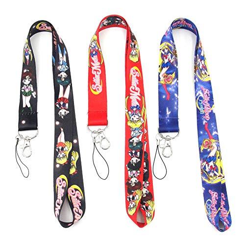Templom SIX Anime Sailor Moon Key Telefon Lanyard Abzeichen ID Kartenhalter Neck Straps Keyring Keychain, 3 Stück