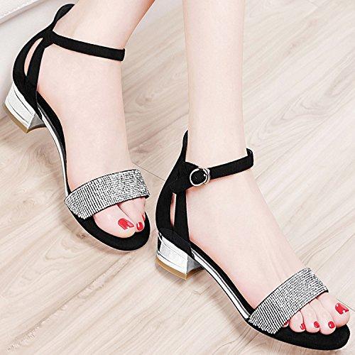 ZPPZZP La sig.ra sandali irregolare con stile Coreano a testa tonda con scanalato 39EU