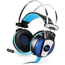 Gaming Headset 3.5mm, YSSHUI KOTION EACH GS500 del auricular del Auricular con Diadema Estéreo Mic Bajo la luz del LED para el Ordenador Portátil PC PS4 Teléfonos Móviles- Negro + Azul