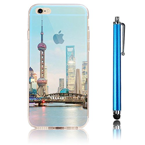 iPhone 7 Case (4.7) , iPhone 7 Custodia,Ultra Slim Thin Crystal TPU Paesaggio Morbido Bumper Case + Stylus Screen Touch Pen –cima model 3