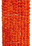 #10: SPHINX ARTIFICIAL MARIGOLD FLUFFY FLOWERS GARLANDS FOR DECORATION - PACK OF 5 (Orange)