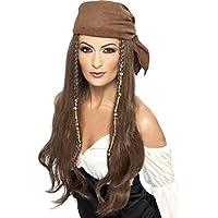 Smiffys, Damen Piraten Perücke mit Kopftuch, One Size, Braun, 21398