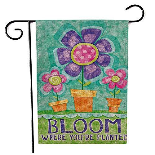 CHEZMAX Doppelseitige Blumenfahne aus Leinen, Gartenfahne für den Garten, Hof, Rasen Pattern 7-Bloom