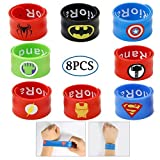 RioRand Slap Armbänder Superheld Birthday Party Supplies Toys Kostüm Slap Bands für Kinder Jungen Mädchen (8pcs Slap Bands)