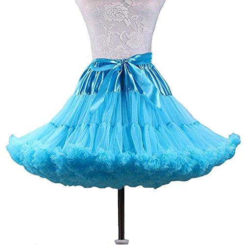 SANSEIJH Damen Erwachsene Schleife Netz Petticoat Tutu Rock, Wedding Zubehör (12 Farbe) Himmelblau