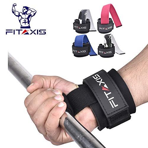 FITAXIS Profi Zughilfen [Gepolstert] für Krafttraining, Bodybuilding & Fitness Lifting Straps für Frauen & Männer - 2 Jahre Garantie | Paarweise verkauft (60cm) (Black, 12