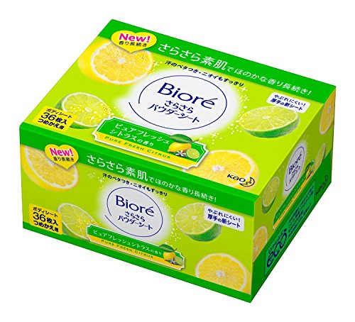 biore-sarasara-powder-sheets-refill-36-sheets-pure-fresh-citrus-fragrance-green-tea-set-is
