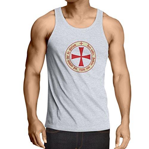 Weste Tempelritter Templer Orden T-Shirt (Knights Templar) für Herren mit Tatzenkreuz Ordo Red (Medium Weiß (Erwachsene Kostüme Templar Knight)