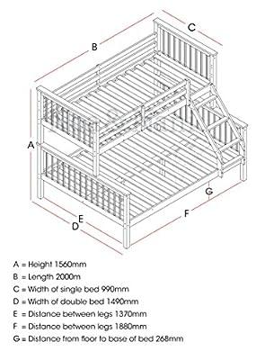 Noa and Nani Wooden Triple Bed Single over Double Bed, Pine Triple Sleeper Hannah