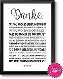 DANKE Liebe - schöne Liebeserklärung – mit Rahmen – Geschenk Geschenkidee Geburtstag Jahrestag Hochzeitstag Hochzeit Männer & Frauen