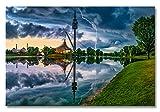 XXL Acrylglasbild, Gewitter im Olympiapark München, Fineart Bild als Exklusive Wanddeko, Wandbild in gestochen scharfer Galerie Qualität Unter Acrylglas auf Original Aluminium Dibond 60x40cm