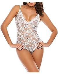 Body de encaje,Morwind bodysuit mujer lenceria encaje ropa interior mujer sexy muy transparente bodysuit bodycon picardias mujer talla grande bragas y tangas camisón