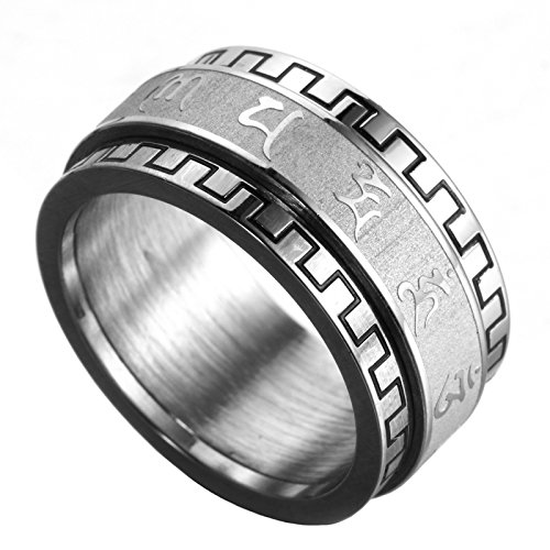 6c8aa0693 HIJONES Women's Stainless Steel Buddhist Mantra Om Mani Padme Hum Lucky  Spinner Ring Band 10MM Silver