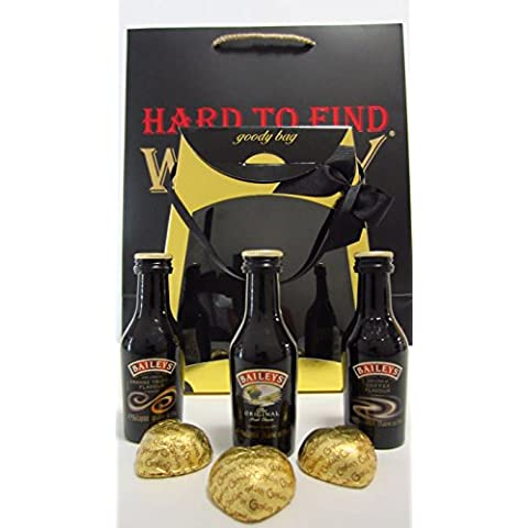 Whisky Liqueurs - Baileys 3 x Miniatures & Chocolate Hearts Gift Set (Hard To Find Whisky Edition) -
