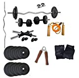 #8: Aurion Home Gym Weight Lifting Pack 30 Kg With 3 Rods + glove-rope-hand grip x 1