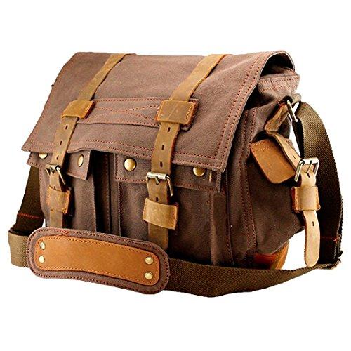Agent X Herren Damen Satchel Messenger Canvas Tasche Vintage Schulter Leder Schule Military Sling Rucksack Tote für Gym Reisen Arbeit 15