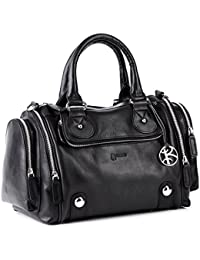BACCINI tote bag - DAPHNE - black leather