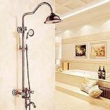 MMYNL Badarmaturen thermostatische Dusche Set Badewanne & Dusche Systeme Kupfer Dusche Antike Rose Gold Heiße und Kalte Retro Duscharmaturen
