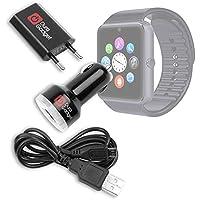 DURAGADGET Kit Cargador Europeo De Red + Cargador Coche + Cable Micro USB Para Smartwatch Mobiper G08