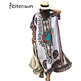 HITSAN INCORPORATION Women Bikini Swimsuit Cover Ups African Ethnic Print Kaftan Dress Plus Size Summer Loose Vintage Long Beach Cover Up Dress Color White Size One Size