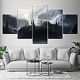 Gwgdjk Original Oil Ink Print Malerei Leinwand 5 Panels Great Mountain Chalet In Der Nacht Wandkunst Bild Home Decor-20X35/45/55Cm,With Frame