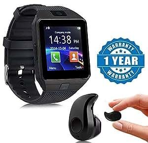 Lambent Black DZ09 Bluetooth Smart Watch with Camera, Sim & SD Card Slot with S530 Stylish Mini Bluetooth in-Ear V4.0