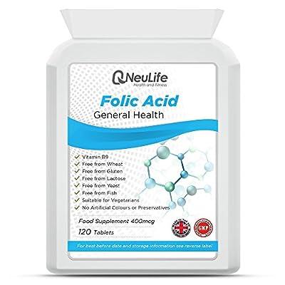Folic Acid 400mcg - 120 Tablets - by Neulife Health and Fitness from Neulife Health and Fitness