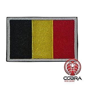 Patch Militaire Écusson Brodé avec sa lanière Hook & Loop pour airsoft/paintball Drapeau Belgique pour Sac à Dos Tactique Vêtements,...