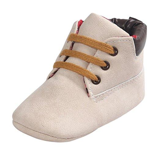 OverDose Unisex-Baby weiche warme Sohle Leder/Baumwolle Schuhe Infant Jungen-Mädchen-Kleinkind -Schuhe 0-6 Monate 6-12 Monate 12-18 Monate (0-6 Monate, Beige-Leder) Dark Beige Schuhe
