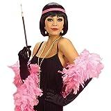 NET TOYS Schwarze Damen Faschingsperücke Charleston mit pinkem Haarband 20er 30er Jahre Kostüm Zubehör