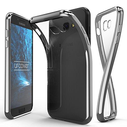 Urcover® Samsung Galaxy A3 (2017) Handyhülle Silber | TPU Silikon Schutzhülle durchsichtig | Spiegelrand Hülle Transparent | Slim Cover Tasche | dünne Schale | Back-Case flexibel | Smartphone Zubehör