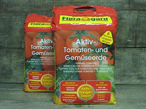 Floragard Aktiv Tomaten & Gemüseerde mit Guano und Langzeitdünger, 40L (2x20L)