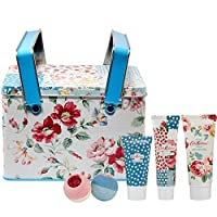 Cath Kidston Beauty Cottage Patchwork Picnic Tin Gift Set, 100 ml Shower Gel, 75 ml Body Lotion, 50 ml Body Scrub, 2 x 80 g Bath Fizzers