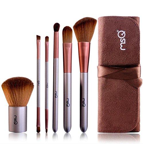 SMX&xh Pinceaux de maquillage Set 6pcs brosses cosmétiques synthétiques pour les cheveux avec sac en cuir mat café