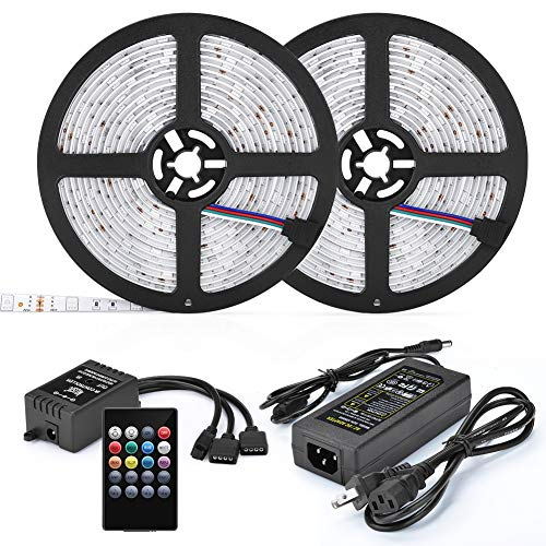 LED Musik Streifen led bänder, UMICKOO led Strip Wasserdicht Musik synchr. lichtband, 10 m (2x5m, 32.8ft) 5050 RGB 300 LEDs Farbwechsel Sound-Aktivierter Sensor mit IR-Fernbedienung für Hause, Party Ir-led-sensor