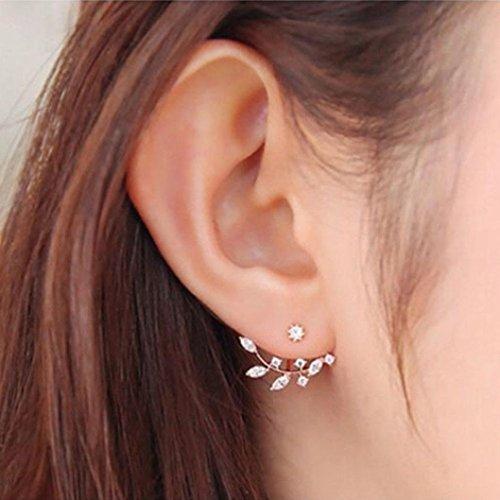 DOA Ohrring Ohrstecker Earring Blumen Blätter Kristall (Rose Gold - 2) (Halloween-katze-make-up Für Mädchen)