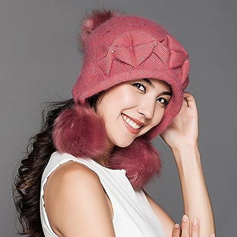 FQG*CAPS Invierno cashmere tejer niños engrosada cap tide oído tejer cálidos hat , rosa