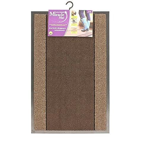 JVL Miracle Barrier Door Mat, Brown/Beige Stripes, 40 x 60 cm