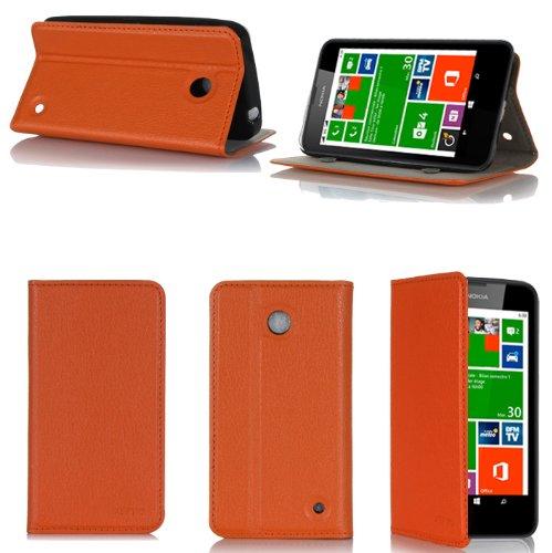 Nokia Lumia 630 Dual Sim Tasche Leder Style orange Hülle Cover mit Stand - Zubehör Etui smartphone 2014 Nokia 630 Flip Case Schutzhülle (Handy tasche folio PU Leder, orange) - Brand XEPTIO accessoires