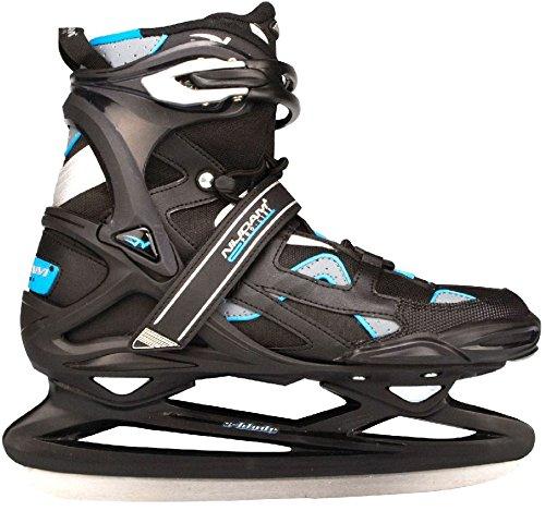 Nijdam Erwachsene Eishockeyschlittschuhe Pro-Line, Schwarz/Silber, 47, 1018517