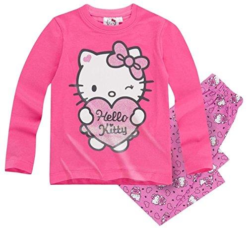 Hello Kitty Kollektion 2016 Pyjama 92 98 104 110 116 122 128 Mädchen Schlafanzug Neu Nachtwäsche Lang Creme-Fuchsia (122 - (Mädchen Kitty Hello Kleid)