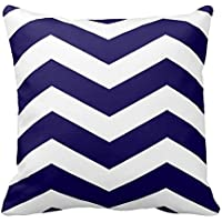 Cobalt Blue and White Stripes Pattern Design Throw Pillow Cover
