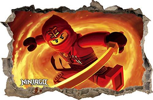 ARTWALL WANDAUFKLEBER Loch in der Wand 3D Legos Ninjago Wand Aufkleber Wandtattoo 90 (S - 50 x 32 cm)
