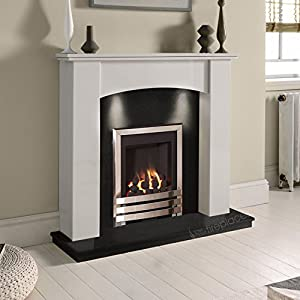 White Marble Stone Surround Black Granite Gas Fireplace Suite Chrome Inset Gas Fire with Downlights