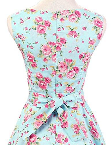 MicBridal® 1950er Vintage Ballkleider Retro Schwingen Pinup Rockabilly Partykleider Cocktailkleider Minze Blumen