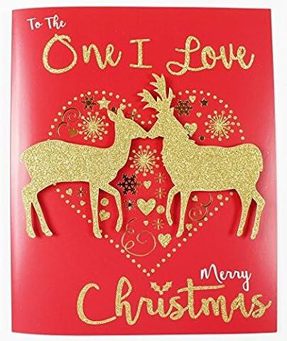 Groß Rot One I Love Grußkarte Weihnachten Geschenkbox Qualität Luxus 3D Handgefertigt