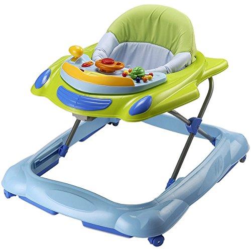 Activity Sitz Lauflernhilfe in grün/blau, mit Spielcenter und Stoffbezug: Lauflernwagen Baby Lauflerner Lern Spielzeug Walker