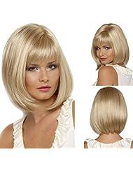 Femme Perruque de cheveux synthétiques Perruque Blond décoloré Bobo courtes droites synthétiques Fabulous Perruque Naturel comme en cheveux Perruque de fête